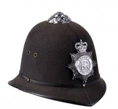 Original britisk Bobby-hjelm (politihjelm), brukt