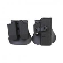 BIG DRAGON pistolhylster og dobbel magholder i hardplast til Glock, svart