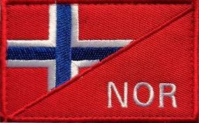 Norsk flagg delt på midten med NOR