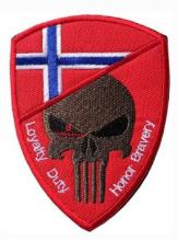 Norsk flaggskjold med Punisher og tekst