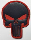 """Punisher"" pvc-merke svart/rød"